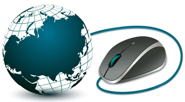 illustration of computer mouse with globe on white background